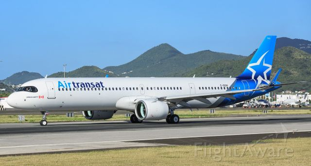 Airbus A321neo (C-GOIH) - Air Transat A321Neo brand new aircraft taxing for parking at St Maarten.