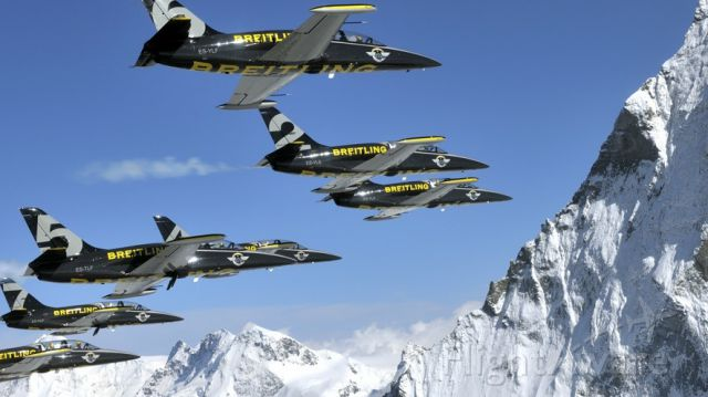 """Aero L-39 Albatros — - The Breitling Jet Team, see more here: <a rel=""""nofollow"""" href=""""http://www.breitling-jet-team.com/"""">http://www.breitling-jet-team.com/</a>"""