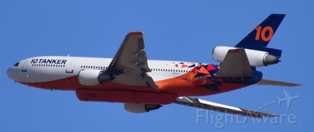 """McDonnell Douglas DC-10 (N612AX) - Tanker 10 shortly after departure from KIWA to the """"Copper Canyon Fire"""" 2021."""