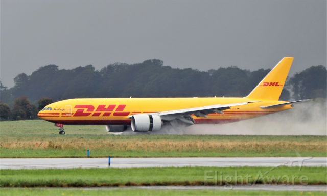 Boeing 777-200 (D-AALR) - dhl b777f d-aalr landing at shannon from frankfurt to pick up a horse and onward to jfk 14/9/21.