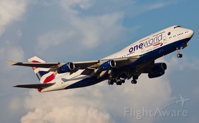 """Boeing 747-400 (G-CIVP) - Her Majesty, the Queen of the Skies wearing her OneWorld livery departing DFW for London Heathrow on 10/06/2018. Not many things more beautiful than a 747 taking off! (Please view in """"Full"""" for highest image quality)"""
