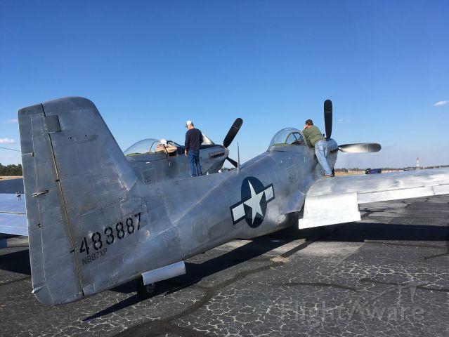 — — - Max, Buck, and Ray preparing for first official flight of Tom Reilly's NAA XP-82 Twin Mustang, 28 January 2019