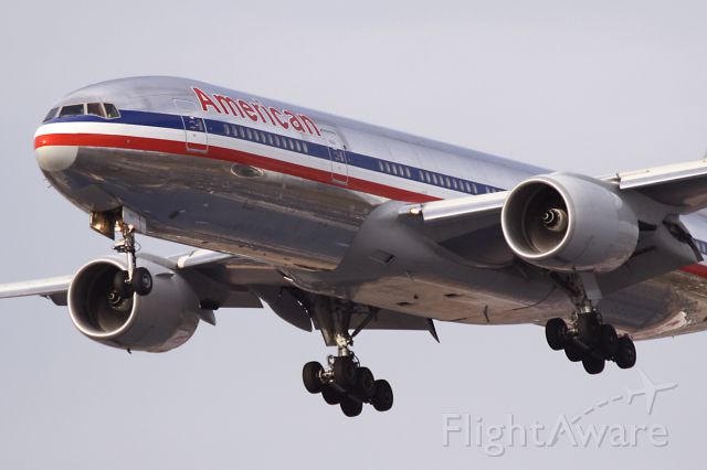 Boeing 777-200 (N758AN) - Short final for 22R - Oct. 2011