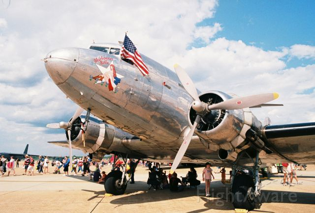 """N47HL — - Commemorative Air Forces C-47B """"Bluebonnet Belle"""" at Barksdale AFB Airshow in 2005. This aircraft was procured with USAAF s/n 43-49942, c/n 27203. It originally went to Great Britains RAF as a Dakota IV and was later transferred to Canadas RCAF according to Joe Baughers information."""