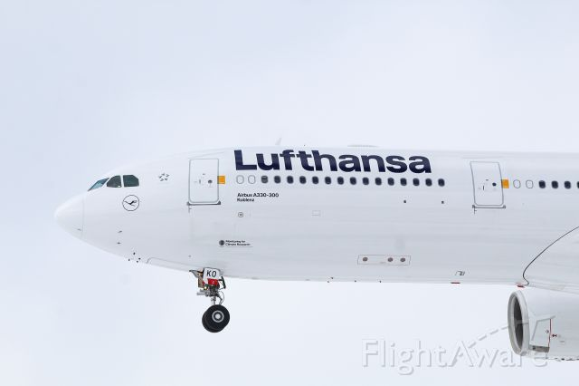 Airbus A330-300 (D-AIKO) - Lufthansa A330-300 on final for 21L at KDTW. The snow lighting on the aircraft contrasted perfectly