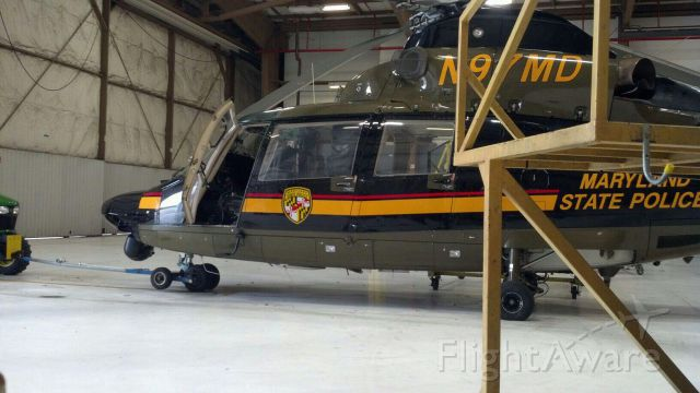 VOUGHT SA-366 Panther 800 (N97MD) - A Maryland State Police AS-365 Dauphin 2 in the hanger at Martin State Airport (KMTN).