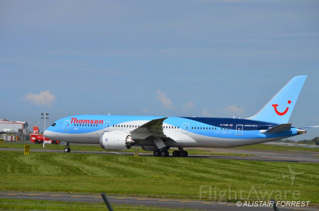 Boeing Dreamliner (Srs.8) (G-TUIB) - Second 787 taxying in for crew change at Prestwick