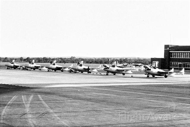 F+W EMMEN Vampire (A79644) - De Havilland Vampires TMK35s departing, replaced by Macchi MB-326H. RAAF Pearce (YPEA)late 1960.