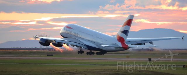 Airbus A380-800 (G-XLEB) - British Airways Airbus A380 G-XLEB sunset departure at YVR for LHR with afterburners selected ;)
