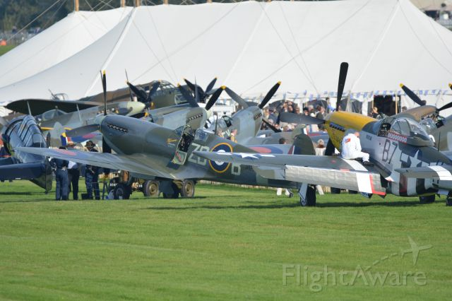 MULTIPLE — - North American T6 Havard/Texan, Bristol Blenheim, North American P51D Mustang, Hawker Hurricane and six Supermarine Spitfires at the Goodwood Revival Motor race meeting on 11 September 2015. br /The Blenheim, Hurricane and Spitfires were gathering for flights over southern England on 15 September as part of the 75th anniversary of the Battle of Britain.