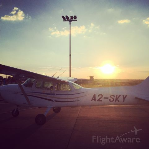 Cessna Skyhawk (A2-SKY) - Parked at the Avgas Fuel bay after a flight from FBFT. Sunset.