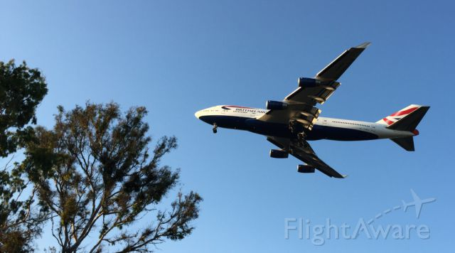 Boeing 747-400 — - Taken from Balboa Park where landing planes fly over low, with an iPhone