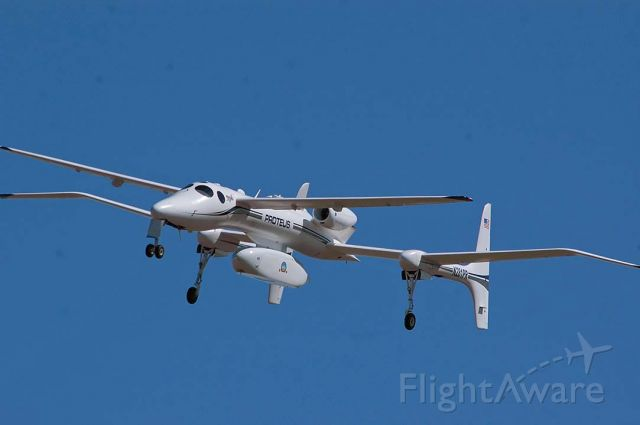 Scaled Composites Proteus (N281PR) - Scaled Composites Model 281 Proteus N281PR on approach to the Mojave Airport on March 15, 2005. It had been flying out of Knoxville, Tennessee for a week.