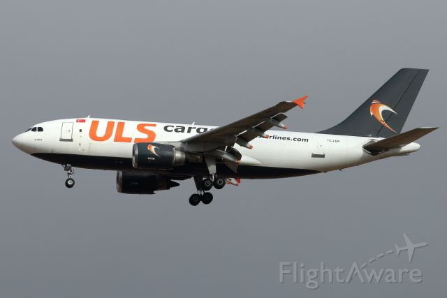 Airbus A310 (TC-LER) - 26/05/2021: Cargo flight from Istanbul, jusr emerged from the low clouds for a final to runway 21.