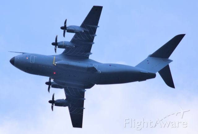 AIRBUS A-400M Atlas (MBB415) - Circuits over Newquay AIrport, interesting patterns from the prop tips