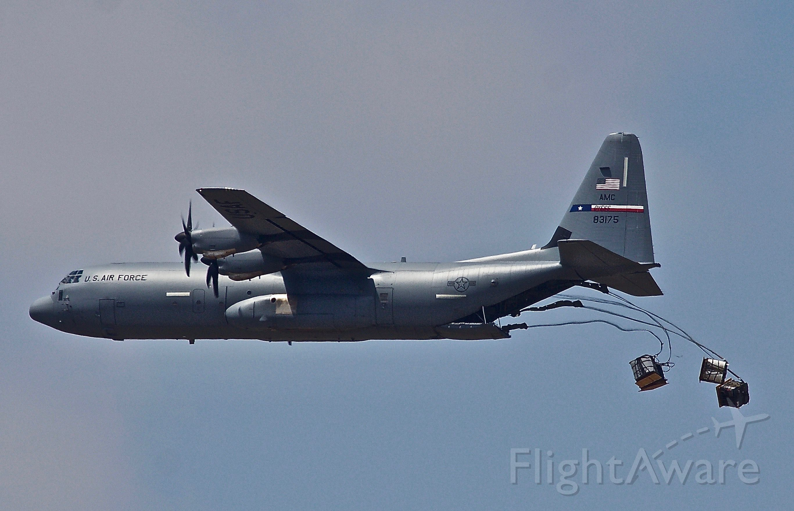 """Lockheed C-130 Hercules (08-3175) - The home town logistics team demonstrating their ability to accurately drop supplies to combat troops at the 2018 Dyess Big Country Air & Space Expo (please view in """"Full"""" for best image quality)"""