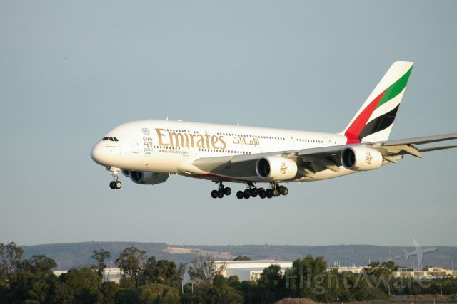 Airbus A380-800 — - Emirates Airbus A380 making a graceful landing on rwy 03 at Perth Intl Airport