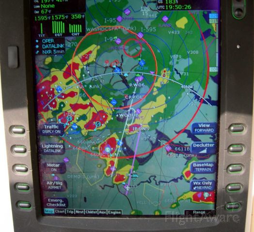 Cessna 400 (N2522F) - Heading back to Potomac Aifield (VKX) in MD after Oshkosh. Lots of storms moving in all directions to dodge. We and the King Air heading into Davison AAF (at +09) made it in with no problem.  Note that we could not fly the approach (in white) due to the storms. But the big red bloob over IRONS went green on the next upload of the radar and we managed to decend to VFR conditions to make an easy landing.