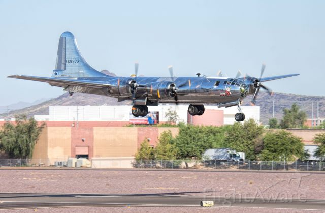 """Boeing B-29 Superfortress (N69972) - Boeing B-29 """"Doc"""" ready to touch down at Phoenix Deer Valley Airport on 9/18/19"""
