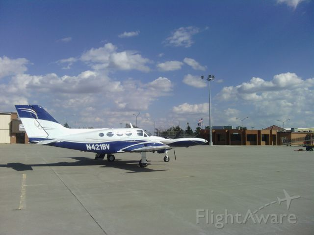 Cessna 421 (N421BV) - Cessna 421 N421BV parked outside Napoli