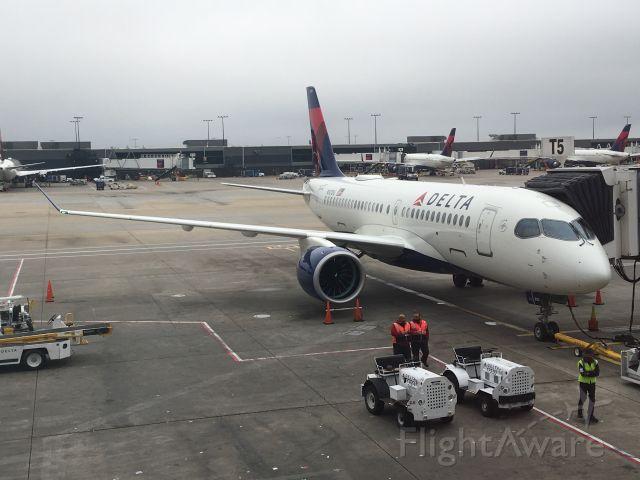 Airbus A220-100 (N101DU) - Delta Air Lines' first Airbus A220 (CSeries) at Atlanta Hartsfield-Jackson International Airport on November 5, 2018.