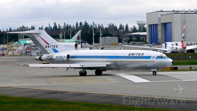 Boeing 727-100 (N7001U) - The first B727 built and now owned by Museum of Flight taxis onto Rwy 16R on 2/22/16.  The aircraft is a B727-22 (ln 1 / cn 18293).
