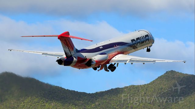 McDonnell Douglas MD-82 (HI990) - PAWA airlines departing TNCM climbing the hills.