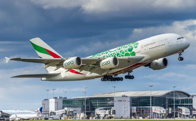 Airbus A380-800 (A6-EON) - Emirates super wearing the green Expo 2020 livery climbs off runway 06L and heads home to Dubai
