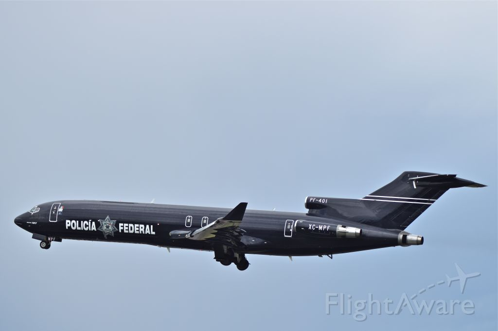 """XC-MPF — - Former Mexican Airlines Boeing 727-264, XC-MFP (PF-401), serial 22664, flying as tactical transport for """"Policia Federal"""" (Federal Police)  now Guardia Nacional (National Guard)."""