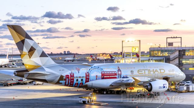 Airbus A380-800 (A6-APE) - Etihad A380 from Room 920 of the TWA Hotel at JFK
