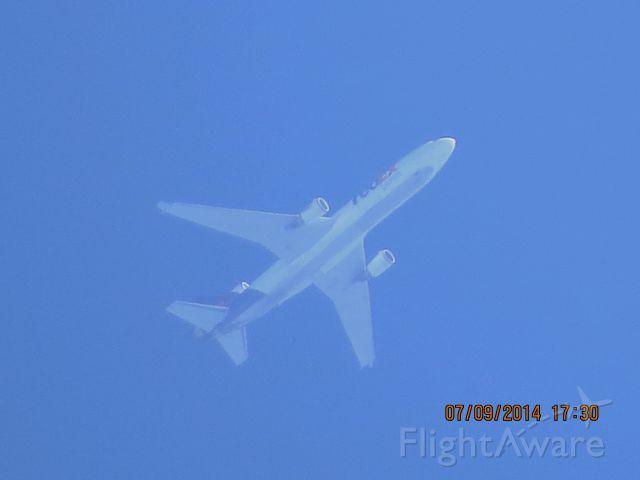 Boeing MD-11 (N604FE) - FedEx flight 582 from MEM to PDX over Baxter Springs KS (78KS) at 36,000 feet.