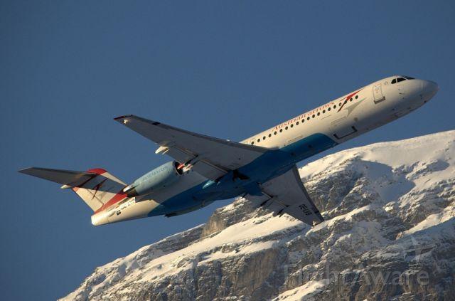 Fokker 100 (OE-LVB) - beautiful Fokker 100 take-off from Innsbruck