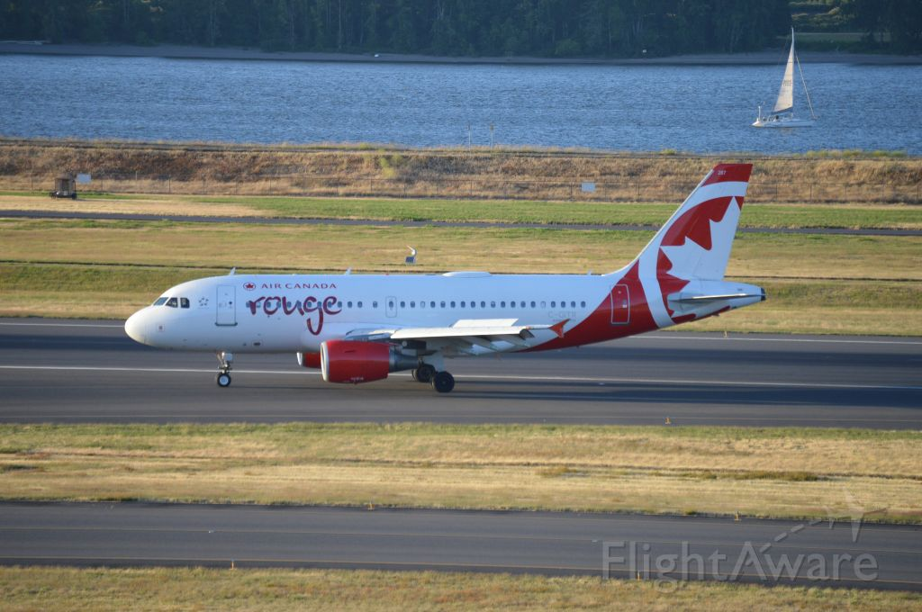 Airbus A319 (C-GITR) - ROU1841 vacating 28R after arriving from Toronto-Pearson (CYYZ/YYZ). This marks Air Canada's reinstatement of their seasonal-daily flights between Portland, Oregon and Toronto for 2019. This flight also marks first day of Air Canada Rouge operations into PDX as this route was previously operated by Air Canada's mainline E-190s. Air Canada announced the transfer of the PDX-YYZ route to their Rouge subsidiary in March 2019.