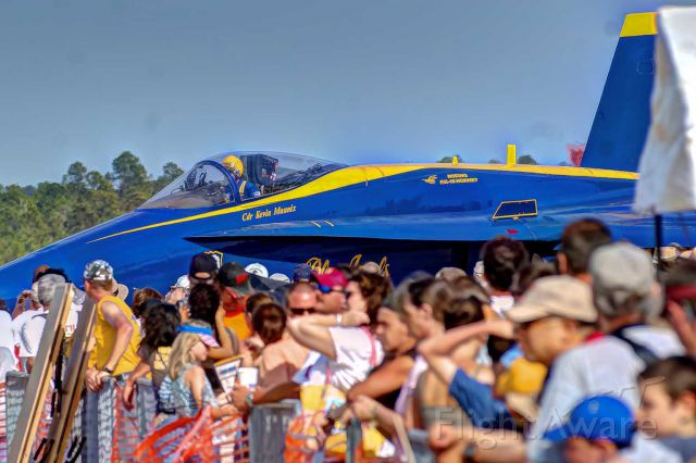 McDonnell Douglas FA-18 Hornet — - A Blue Angels F-18 taxis close by the crowd at a Tyndall AFB airshow.
