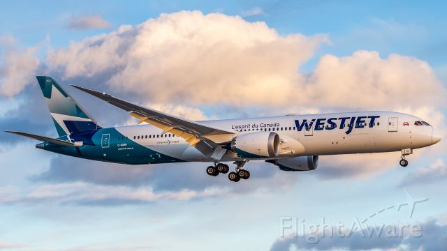 Boeing 787-9 Dreamliner (C-GURP) - My first glimpse of the new Westjet Dreamers! I'm a fan! Here on finals for runway 23 inbound from Calgary. International routes to commence soon!