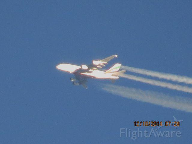 Airbus A380-800 (A6-EEM) - Emirates flight 221 from Dubai to DFW over Southeastern Kansas at 40,000 feet.
