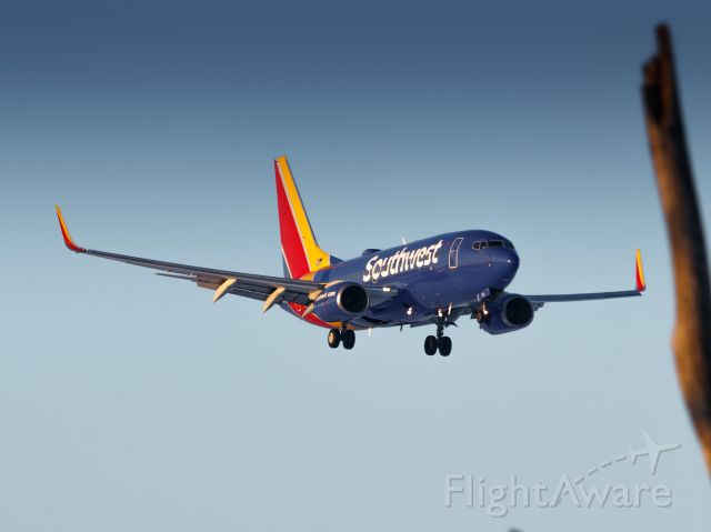 Boeing 737-700 (N560WN) - 560WN on short final for OMA's runway 14R, dodging trees before landing!