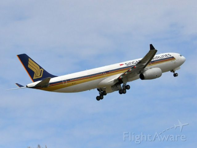 Airbus A330-300 (9V-STI) - Getting airborne off runway 23 and heading home to Singapore. Friday 5th October 2012.