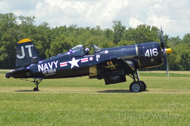 """VOUGHT-SIKORSKY V-166 Corsair (N713JT) - From the Geneseo Airshow website. The """"Korean War Hero"""" F4U4 Corsair has a legendary history. She served two tours on two different carriers. She has the distinction of flying over 200 combat missions. In 1951 she was aboard the USS Boxer (CV21), VF884 Naval Reserve Squadron from Olathe, Kansas.  This squadron was known as the """"Bitter Birds"""" using the Kansas Jayhawk on their jacket patch."""