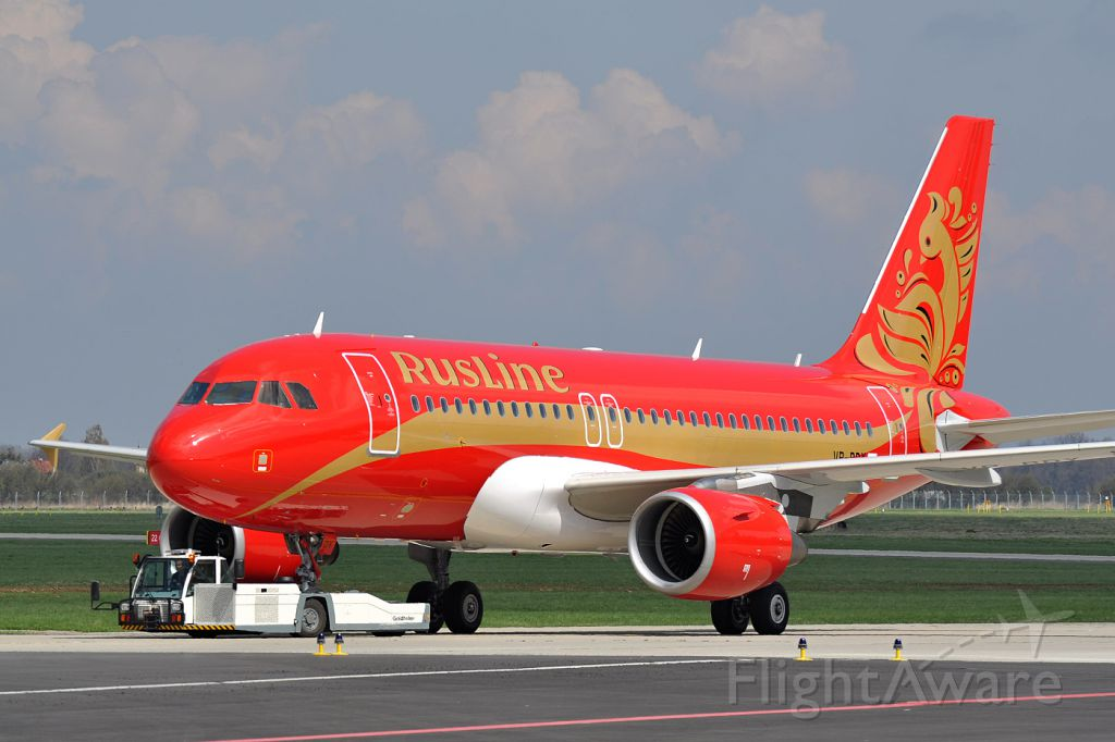 Airbus A319 (VP-BDY) - Probably the first Airbus A319 with RusLine livery - first view shortly after push back from paintline.
