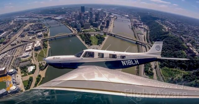 Piper Saratoga (N18LH) - Flying over the Downtown Pittsburgh