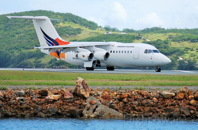 ZK-ECO — - Vincent Aviations BAE-146 at Hamilton Island, Qld.  Now VH-SUF.