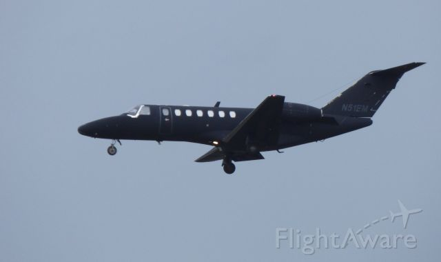 Cessna Citation CJ1 (N51EM) - Shown here is a Cessna Citation 525 a moment until it lands in the Autumn of 2017.  Its livery is simply a dark color.
