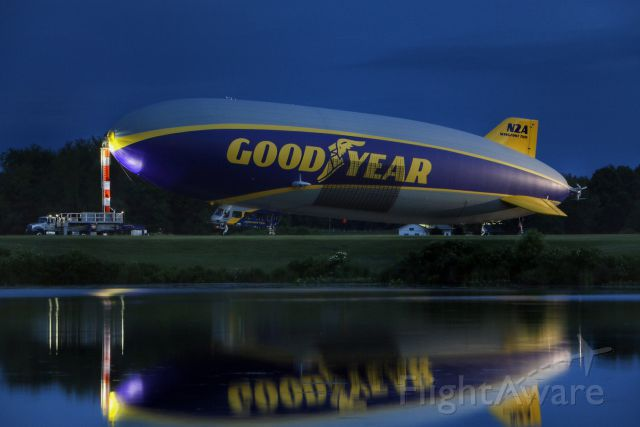 Unknown/Generic Airship (N2A) - Wingfoot Two (N2A) seen from across the lake at Wingfoot Lake Airship Base in Ohio during blue hour. The airship, now based in Pompano Beach, Florida was in town for crew training.