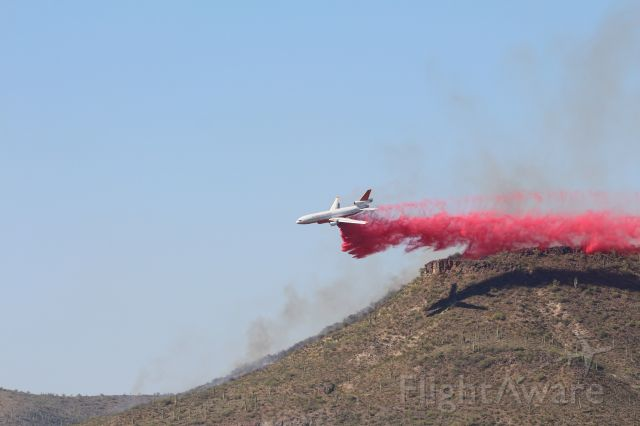 McDonnell Douglas DC-10 (N522AX) - Second drop of second run on the Stage fire N of Phoenix, 8 MAY 2020
