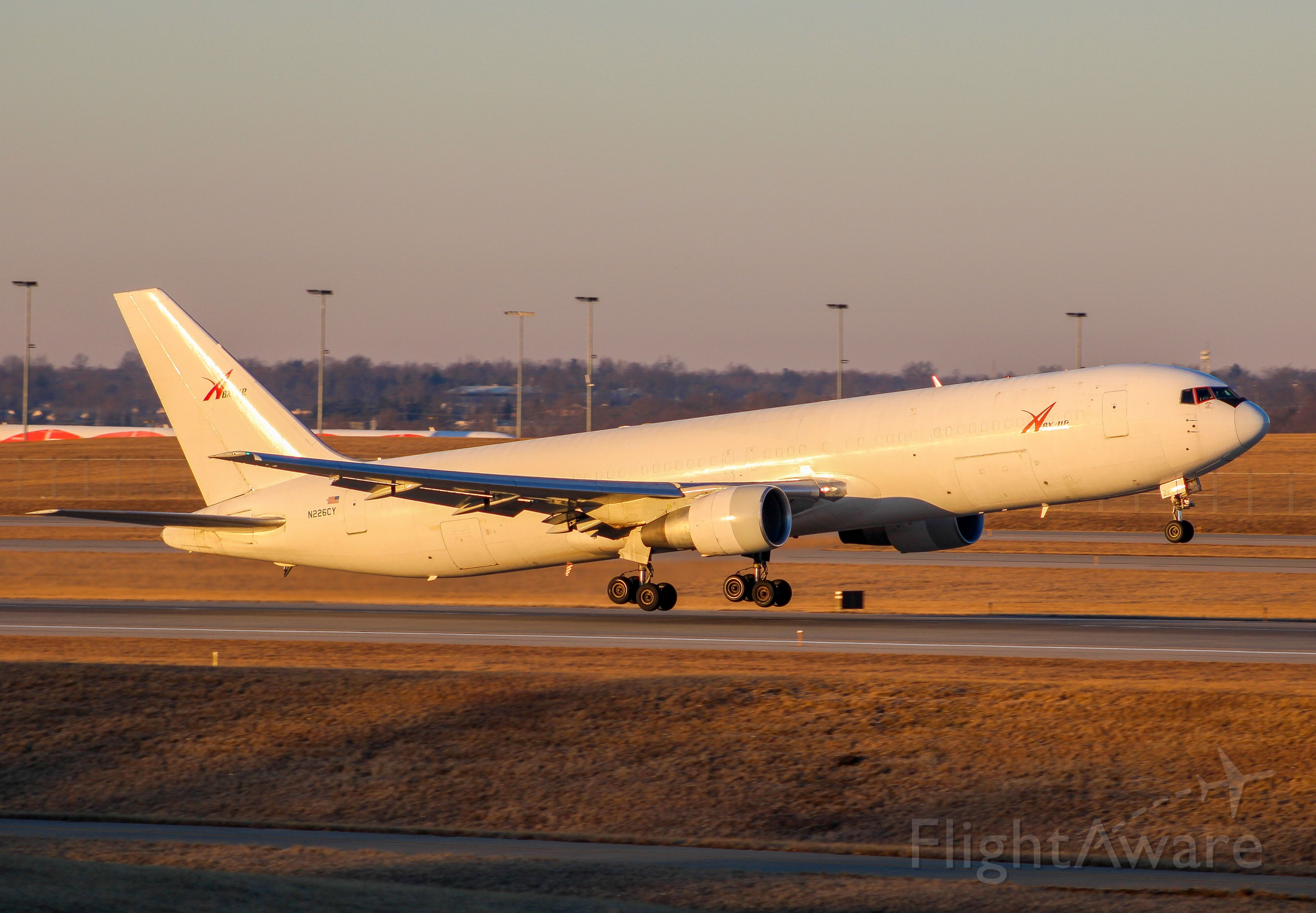 BOEING 767-300 (N266CY) - ABX all white 767-300 departing RWY 36R in the morning sun of CVG