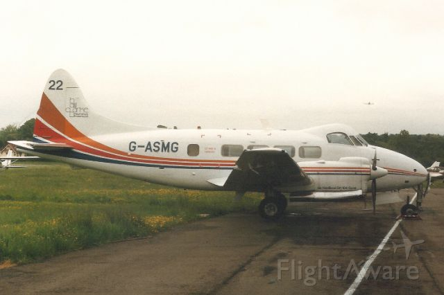 Hawker Siddeley Dove (G-ASMG) - Seen here in Jun-88.br /br /Reregistered VH-JGZ 5-Apr-89,br /then VH-DHQ 12-Nov-92,br /then ZK-DHW 27-Jan-03.br /Registration cancelled 15-Jun-15.