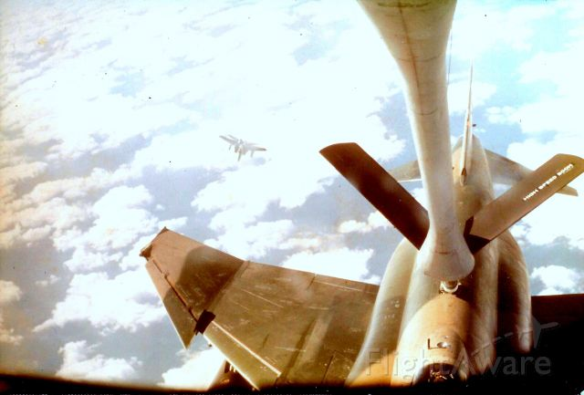 — — - Refueling over Gulf of Mexico, east of Tampa. Fighters were using Eglin range, hitting tankers, returning. Note F-15 waiting its turn. Jan, 1977