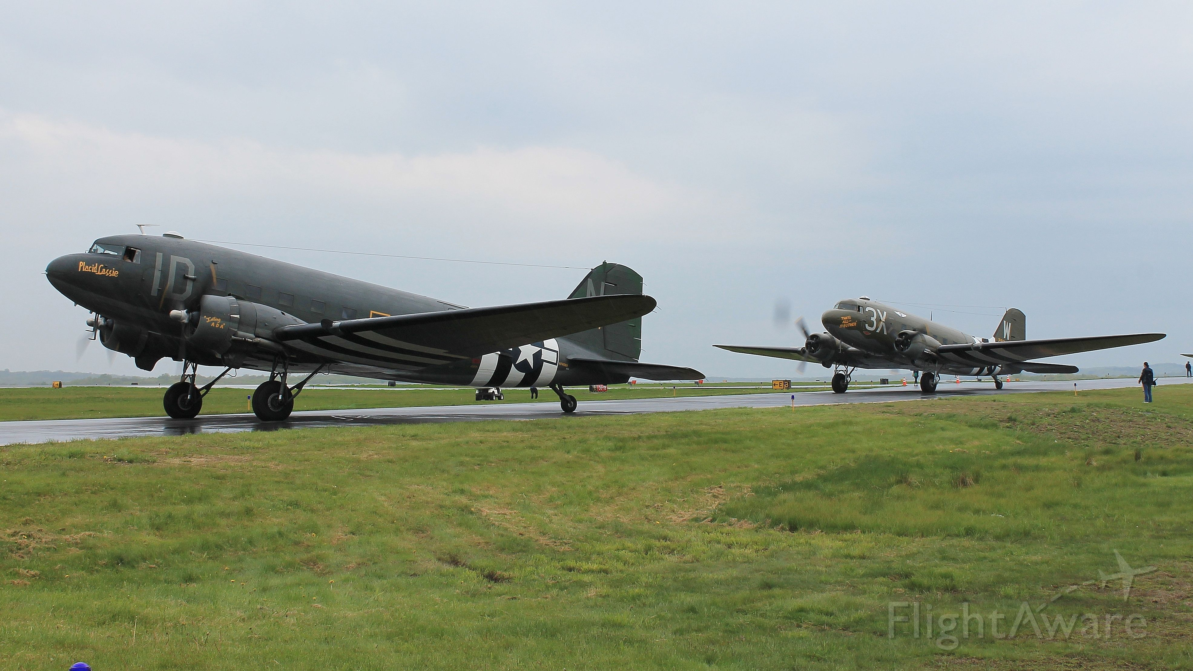 """Douglas DC-3 (N74589) - Two Skytrains, """"Placid Lassie"""" (N74589) and """"That's All... Brother"""" (N47TB) spinning up during the D-Day Squadron Kickoff Week, 17 May 2019."""